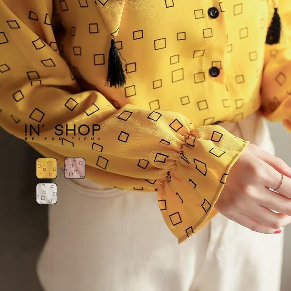 IN'SHOP俏皮小丑領流蘇小方格襯衫-共3色【KT221181】