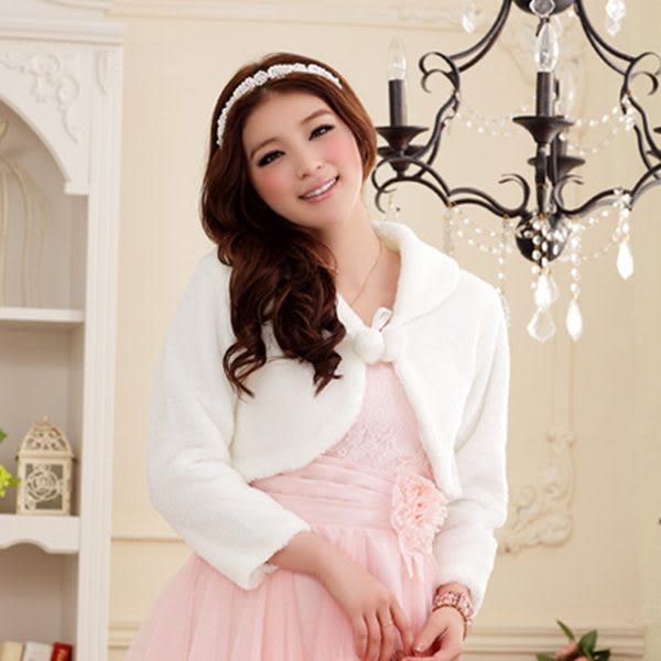 J-611-JKL‧甜美閨蜜伴娘禮服披肩毛毛小外套(白色)~美之札