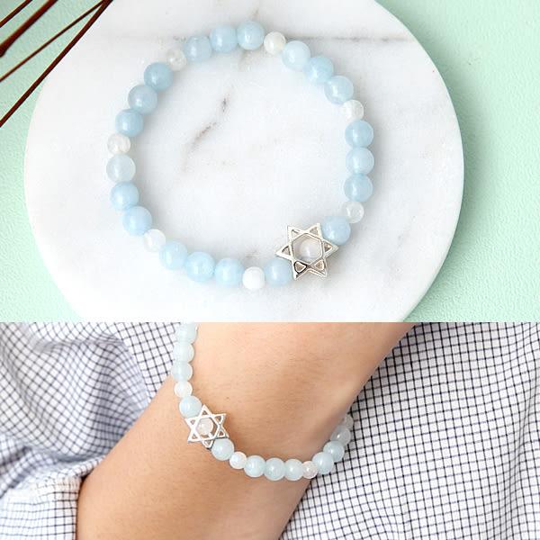 手鍊 925純銀海藍寶月光星星手環 柒彩年代【NPEA2】手作天然寶石