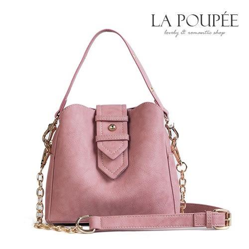 側背包 復古擦色皮帶扣飾小水桶包 4色-La Poupee樂芙比質感包飾 (現貨+預購)
