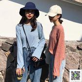 打底衫  新款韓版chic早秋上衣復古寬鬆顯瘦長袖t恤女學生百搭 欧欧流行馆