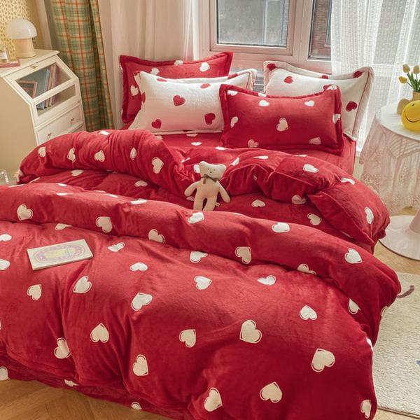 冬季加厚牛奶絨四件套A類卡通防靜電床單款三件套保暖被套床笠款