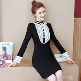 長袖洋裝-秋天冬天新品胖妹妹拼色針織羅馬中長款連衣裙潮 夏沫之戀