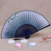 日本日式和風小絹扇子折疊真絲手繪女扇中國風古典古風折扇紅梅花 js5451『miss洛羽』