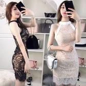 夏季新款韓版時尚氣質女神蕾絲修身包臀掛脖洋裝名媛晚禮服 卡布奇诺