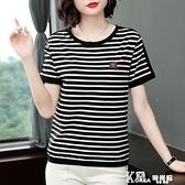 黑白條紋t恤女媽媽純棉短袖中年大碼寬鬆中老年裝夏裝全棉衫上衣