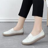 果凍豆豆鞋豆豆鞋春款透氣牛皮女鞋舒適真皮軟底軟面平底媽媽鞋  【快速出貨】