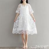 森女系洋裝 森女系文藝白色仙女裙夏裝日系小清新蕾絲連身裙中長款寬鬆大碼 小天使