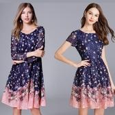 中大尺碼洋裝 蕾絲高腰修身A字顯瘦連衣裙 短袖/長袖  L-5XL #yz11668 ❤卡樂❤