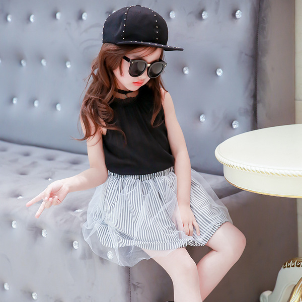 女童短袖套裝 麻紗無袖上衣+網紗短裙套裝 寶寶童裝 小禮服 MS18719 好娃娃