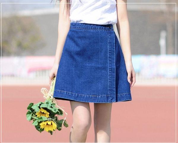 韓版高腰顯瘦一粒扣牛仔裙A字裙短裙 A176 現貨