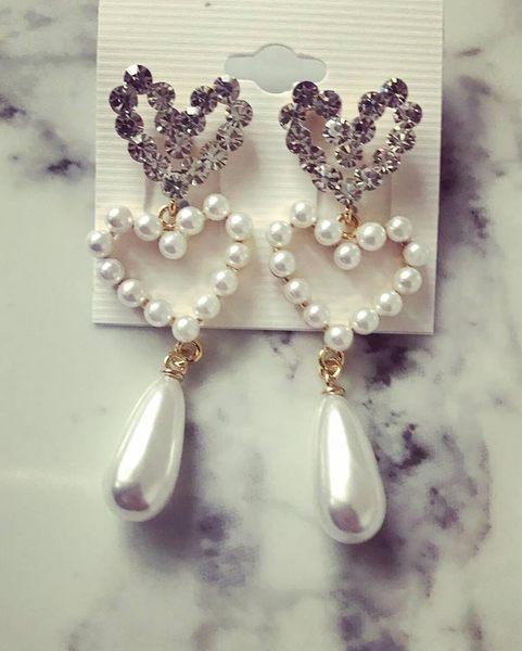 正韓耳環 made in Korea 愛心心型珍珠bling bling 修飾臉型垂墜銀針耳環