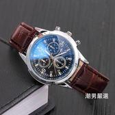 新品藍光玻璃裝飾假三眼皮帶手錶禮品休閒時裝男女手錶 4色