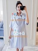孕婦連身裙洋裝時尚翻領襯衫裙中長款寬鬆【奇趣小屋】