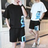 運動T恤套裝 青少年夏季男學生兩件套潮流夏裝休閒運動服 BT2495『男神港灣』