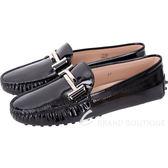 TOD'S Double T 水波壓紋漆亮皮綁帶豆豆鞋(女鞋/黑色) 1810550-01