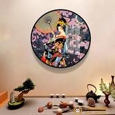 日式浮世繪日料壽司店圓形裝飾畫日式和風客廳掛畫和服美人壁畫品牌【獅子】