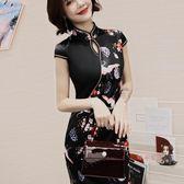 旗袍 國潮仙鶴黑色短款旗袍女改良年輕款少女時尚復古中國風顯瘦洋裝 S-2XL