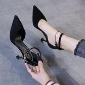 高跟鞋 2020春新款一字扣帶包頭涼鞋女法式少女尖頭仙女風細跟性感高跟鞋【快速出貨八折特惠】