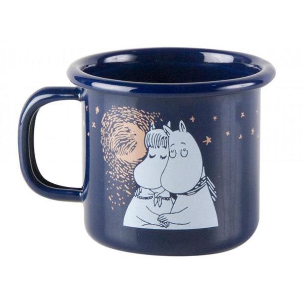 【芬蘭Muurla】嚕嚕米系列-冬季羅曼史琺瑯馬克杯150cc(深藍色)濃縮咖啡杯/琺瑯杯