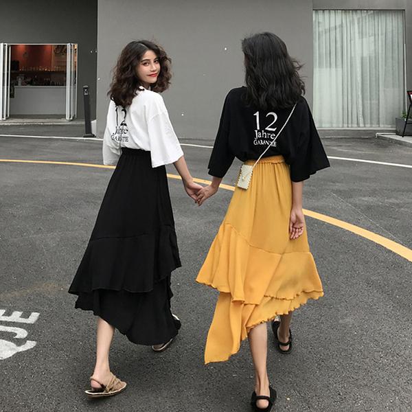 韓版高腰A字半身裙 中長款2019夏季新款女百搭學生純色荷葉邊長裙