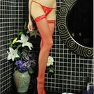 紅色蕾絲邊大腿網襪