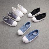 球鞋春秋黑白色女童休閒鞋套腳懶人板鞋1-11歲潮 WE2156【東京衣社】