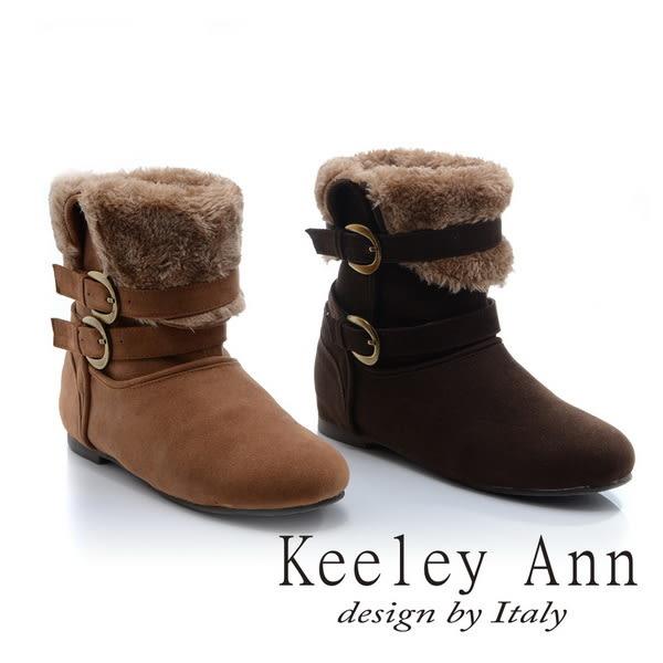 ★零碼出清★Keeley Ann異國戀冬~暖毛設計舒適內增高短靴(棕色)