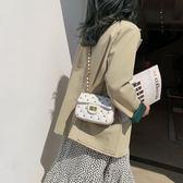 鍊條包 法國小眾包包女潮韓版洋氣繡線側背包百搭菱格鍊條小方包
