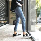 牛仔褲  牛仔褲男薄款青少年學生韓版潮流修身彈力毛邊小腳褲九分褲子 伊鞋本鋪