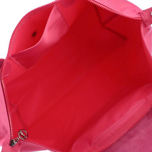 LONGCHAMP 短提把兩用大型厚尼龍水餃包(桃紅色)480167-018