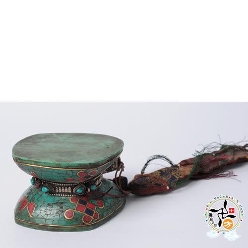 手鼓 吉祥結 鑲綠松石 +十相自在貼紙【十方佛教文物】