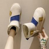 雪地靴女加厚加絨棉鞋平底防水防滑百搭一腳蹬短靴【步行者戶外生活館】