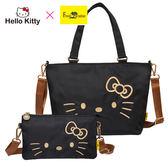 【橘子包包館】Hello Kitty x Freak Paradise 經典凱蒂-兩用手提包&雙層萬用包-黑 AWFPKT0D02BK