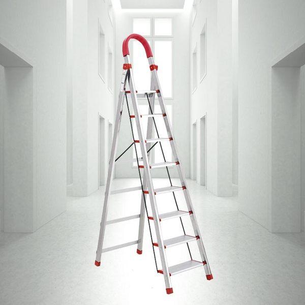 家用摺疊梯子加寬加厚不銹鋼七步八步梯人字梯閣樓梯室內行動樓梯  ATF  極有家