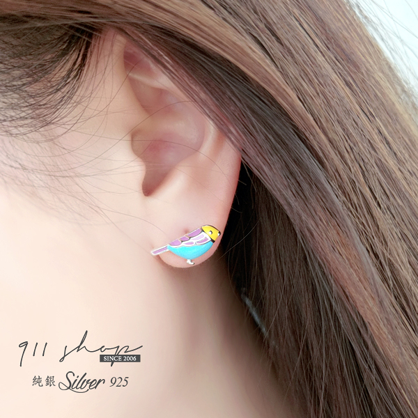 Favour.925純銀幸福彩色青鳥穿針式耳環【sa235】911 SHOP