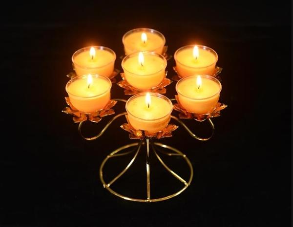 酥油燈 創意純銅合金七星蓮花酥油燈架供奉禮佛供燈專用祈福長明燈座