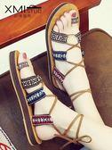 新款夏季羅馬涼鞋海邊女度假交叉綁帶沙灘鞋平底波西米亞時尚百搭 ☸mousika