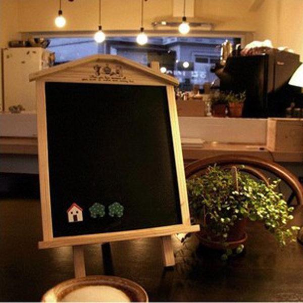 正韓文具 可立式可掛畫板 木屋磁性小黑板留言板 兒童益智木制玩【新年交換禮物降價】