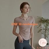 運動瑜伽女夏季薄款短袖健身上衣修身緊身跑步瑜伽服【大碼百分百】