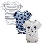 Moms care灰色獅子短袖包屁衣 三件組 短袖包屁衣 連身衣 嬰兒裝 包屁衣