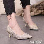流行高跟鞋 秋季潮鞋新款銀色高跟鞋女貓跟水鉆伴娘細跟5cm亮片中跟單鞋 米蘭潮鞋館