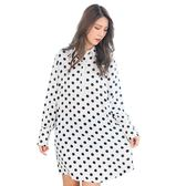氣質洋裝--優雅可愛復古圓點襯衫排扣寬鬆修身雪紡長袖連衣裙(白L-3L)-A373眼圈熊中大尺碼◎