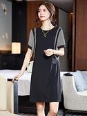 短袖洋裝連身裙大碼L-4XL歐洲站大碼拼條紋短袖連身裙寬松胖mm女裝夏裝歐NB11B依佳衣