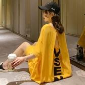 夏季韓版學生性感露背洋裝遮肚大碼女裝短袖純棉長裙過膝T恤裙 錢夫人