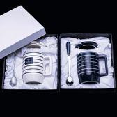 馬克杯情侶一對創意潮流正韓陶瓷帶蓋勺個性女學生咖啡杯水杯免運直出 交換禮物