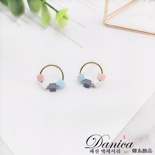 耳環 現貨 韓國簡約撞色方塊糖果色圓形耳針 S92992 批發價 Danica 韓系飾品 韓國連線