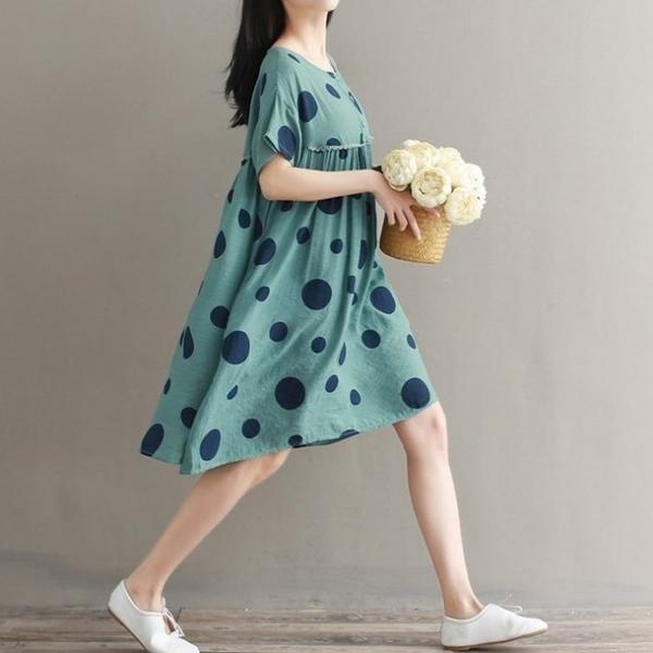 漂亮小媽咪 原創短袖洋裝 【D1882】 寬鬆 短袖 棉麻 拼接 波點 孕婦洋裝 復古 孕婦裝