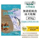 補貨中*KING WANG*【嚐鮮價】紐西蘭ADDICTION自然癮食《無穀藍鮭魚乾糧-幼犬敏感配方》454g/包 狗糧