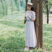 夏季一字領露肩洋裝復古森系長裙